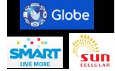 フィリピン・セブ島での3大通信会社Globe,Smart,Sun。
